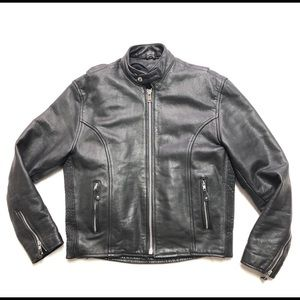 Leather King Motorcycle Jacket Size 40 Lined Black